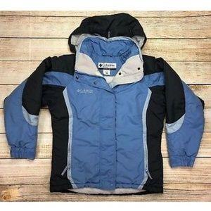 Columbia Winter Jacket Attached Hood Front Zip Poc